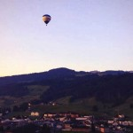 Floating, light as a breeze, up in the chilly air over Appenzell