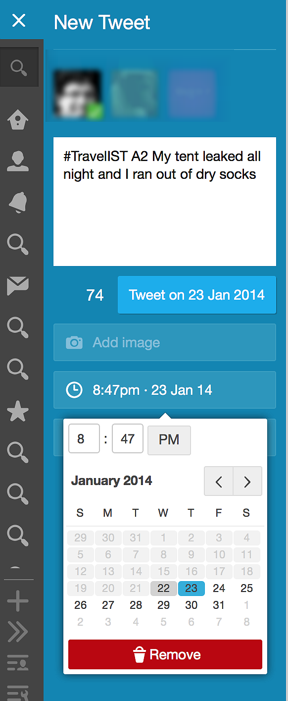 How to schedule a tweet using Tweetdeck. Note: Tweets with images cannot be scheduled