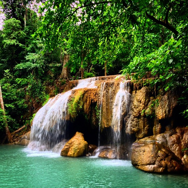 The absolutely gorgeous Erawan #waterfall in Kanchanaburi, #Thailand. #travel #travelpics