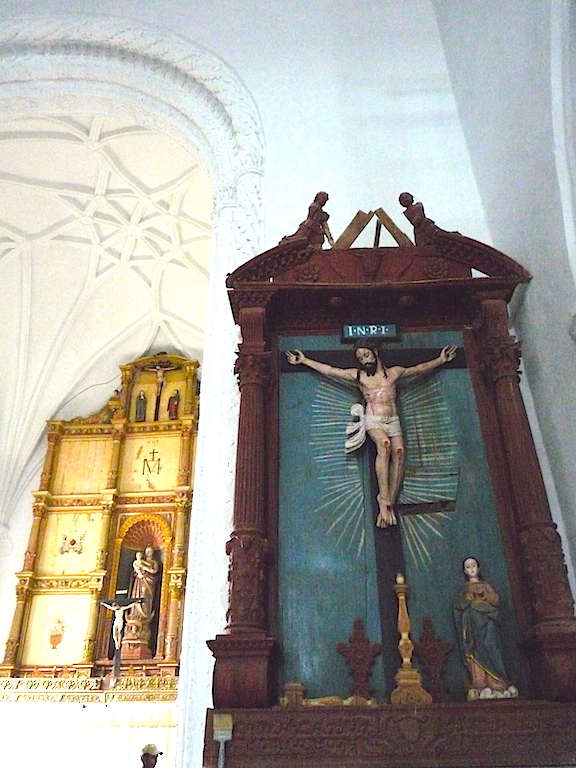 Interiors of the Church of Our Lady of Rosary in Old Goa. Initially, the church was raised to the rank of a Parochial Church but was downgraded to a chapel and affiliated to Se Cathedral in 1869.