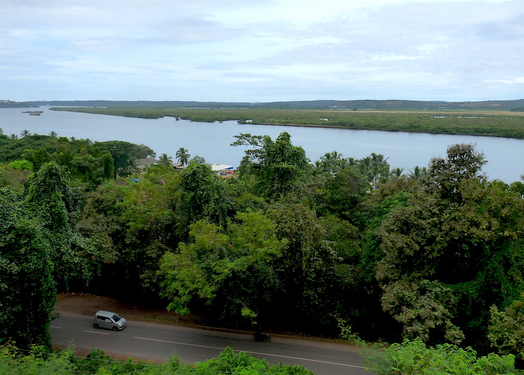 A view of the Mandovi River from the yard outside the Church of Our Lady of Rosary on Monte Santo.