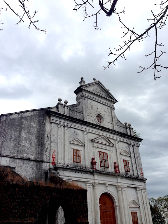 Façade of the Chapel of Our Lady of the Mount in Old Goa. Built in 1557, the church has been renovated and restored several times.