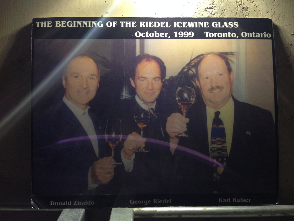 Karl Kaiser and Donald Ziraldo, the founders of Inniskillin, with Austrian stemware designer George Riedel