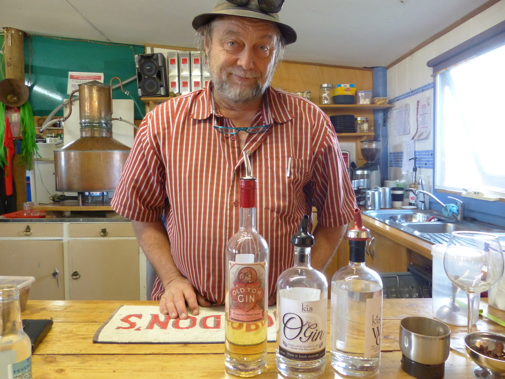 Jon Lark with two signature Kis gin labels